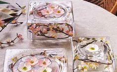 Floreros de vidrio para centros de mesa con flores de loto y el resto de la rama