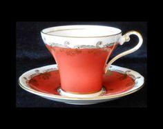 Aynsley Bone China Orange Corseted Cup & Saucer
