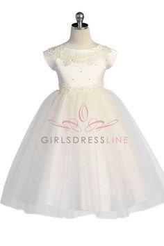 Ivory Satin Bodice Flower Girl Dress with sleeves JD1102I $56.95 on www.GirlsDressLine.Com