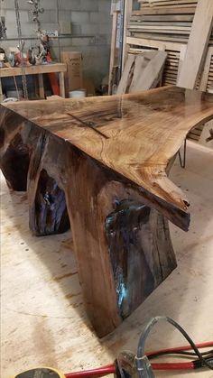 From Aaron Heffley …Black walnut stump coffee table.
