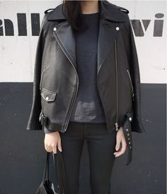 leather jacket { all black }