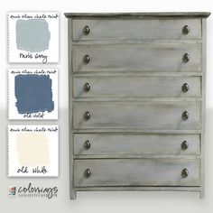 Colorways with Leslie Stocker » Variation on a Theme. Annie Sloan Chalk Paint®. Paris Grey. Old Violet. Old White