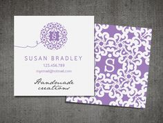 """Business card design / personalized stationery / blog card / square card  """"Old Lace"""". $25.00, via Etsy."""