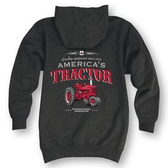 Americas Tractor Front And Back Heather Charcoal Men's Zip Up Hoodie