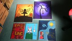 My canvas paintings (that id actually really like to sell - so if anyones intelrested drop my a message) #art  #canvas #acrylic #sale #fairy #sunset #bunny #aliceinwonderland #tree #quotes #winterstale #films #paintings