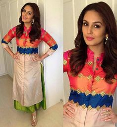 Huma Qureshi Dupion Silk Patch Work Multicolour Semi Stitched Bollywood Designer Suit - 28005