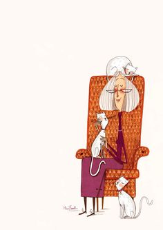ilustración de Alex T. Smith -            when I grow up I want to be a crazy cat lady, yes please.