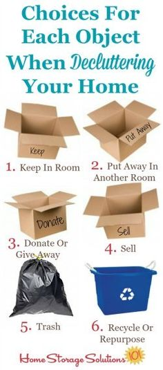 6 choices for each object when decluttering. Part of the how to declutter your home instructions on Home Storage Solutions 101.