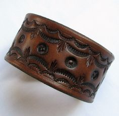 Men's Cuff Bracelet Leather Women's Leather by aosLeather on Etsy