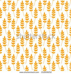Seamless pattern with ears of wheat, vector simple illustration - stock vector