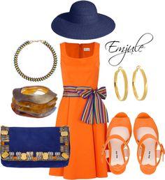 """Orange and Navy"" by emjule on Polyvore"
