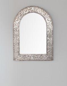 Silver Moroccan Bone Encrusted Mirror