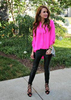 Kiss Me Darling: Neons, Faux Leather, & Snake Skin... neon blouse, pink top, faux leather leggings, leather leggings, leather pants, faux leather pants, black heels, strappy heels, neon, snakeskin, clutch