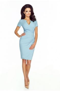 Błękitna Sukienka z kopertowy dekoltem KM56-5