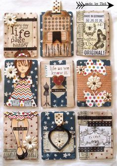 ACEO / ATC: Arts by Tini: My Pocket Letters #Mixed Media Dolls by Prima - Julie Nutting doll rubber stamp.
