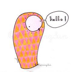 Hello ! Les Miniboux by MorningSun #owl #triangle #illustration