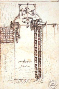 dessin de l'architecte François Cuénot. Machine pour la construction de ponts, 1672. Rude Mechanicals, Medieval Games, Old Technology, Old Tools, Mechanical Engineering, Sacred Geometry, Middle Ages, Windmill, Construction