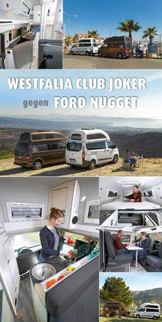 Kompakt und wetterfest sind beide. Fahraktiv ebenso: Club Joker und Nugget können das Gleiche, tun's aber auf verschiedene Weise. Die Pferde unter der Haube kommen aus verschiedenen Ställen: #VW und #Ford. #Campingbus