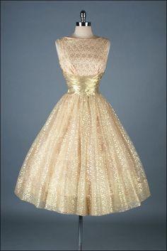 Vintage 1950s Dress . Gold Metallic Lace . by millstreetvintage