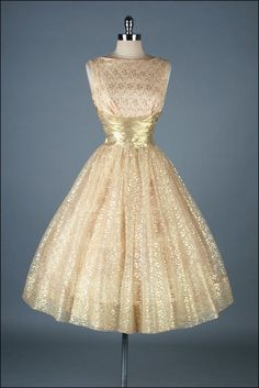 Vintage 1950s Dress . Gold Metallic Lace . by millstreetvintage