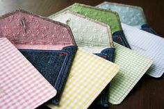 Handmade thank you cards from salvaged jeans and fabrics