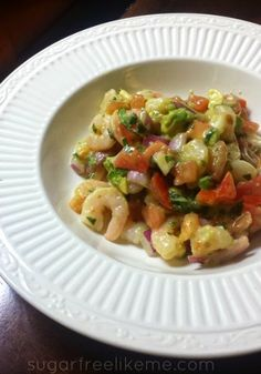 Quick and Easy Shrimp De Gallo Ceviche: Perfect low carb summer meal or snack!  #lowcarb #sugarfree #sugarfreelikeme #ceviche #degallo #summerfood