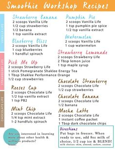 Great Recipe Combinations to try using Shaklee Life Shake.