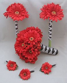 Gerber Daisy Wedding Flower Package Bridal Bouquet Bridesmaid Bouquets Boutonnieres Real Touch Red Gerber Daisies Choose Your Color