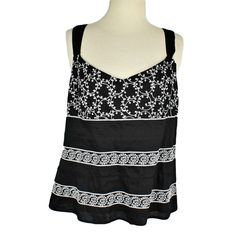 Ann Taylor Womens 14 Top Fitted Cotton V Neck Embroidery Pleats Sleeveless Black Spring Has Sprung, Ann Taylor, Camisole Top, V Neck, Embroidery, Group, Tank Tops, Blouse, Board