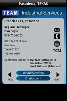 TEAMServices App provides information about TEAM contact personnel, TEAM locations and TEAM Service Specialties worldwide.