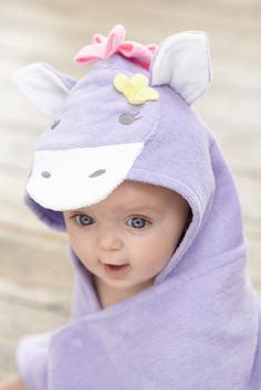 Child Tween Girl Duck with Lavender Bow Hooded Bath Towel Baby