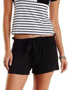 Drawstring Ruffle Shorts: Charlotte Russe #loung #shorts