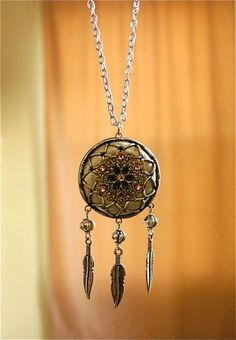 Victorian Style Dream Catcher Necklace  Made from baked polymer clay and findings. Comes with a 24 inch silver plated chain. Dream catcher circle is about 1 1/2 inches in diameter.