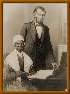 Sojourner Truth  Photo of a painting of Lincoln showing Truth a bible presented to him by Colored People of Baltimore, in executive mansion, Washington D.C. Oct. 29, 1864.  Born into slavery, sometime around 1797, as Isabella Baumfree, she was next to the youngest of maybe twelve children. Her parents were James and Betsy, the property of Col. Johannes, from Holland, and living in Ulster County, New York.  As a teen she was sold to John J. Dumont, who was not a kind slave owner. Belle was…