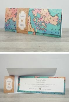 Let yourselves be seduced by this beautifully designed pocketfold wedding invitation in the style of an old map. This design is perfect for your vintage, travel, or destination weddings. Create your own customised wedding invite today!