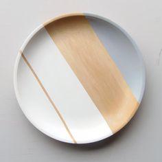 Modern Pastel Hardwood Serving Tray, White/Gray on Etsy, $140.00