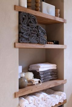 Set up a small bathroom: this bathroom furniture should not be missing - bathroom niche with wooden shelves Best Picture For fall decor For Your Taste You are looking for - Bathroom Niche, Bathroom Closet, Bathroom Shelves, Bathroom Ideas, Bathroom Cabinets, Bathroom Organization, Organization Ideas, Bathroom Remodeling, Bathroom Inspiration