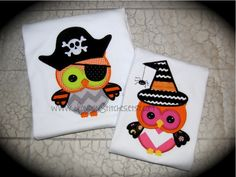 Matey the Pirate Owl Applique - Pick & Stitch