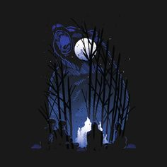 Sitting around the camp fire in the moonlight within a roaring bear design - Camping - T-Shirt | TeePublic.  Who enjoys toasting marshmallows at a camp fire in the moonlight. Beware of the roaring bear that is your background. Ghosts, moonlight, darkness - what more do you want. Roaring Bear, Camp Fire, Bear Design, Marshmallows, Ghosts, Glamping, Moonlight, Darkness, Batman