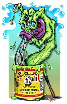 Fuck Yeah Rat Fink - insanitiki: Four - Mark 'Topes' Thompson a. Cool Car Drawings, Cool Sketches, Cartoon Drawings, Graffiti Doodles, Graffiti Lettering, Ed Roth Art, Cartoon Rat, Pinstripe Art, Lowrider Art