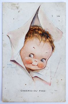 Mabel Lucie Attwell- 1924 Cute Old Rare Postcard - 'cheerio' - Valentine 807
