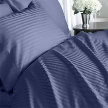 """Luxurious DARK BLUE Damask Stripe, CALIFORNIA KING Size. EIGHT (8) Piece DOWN ALTERNATIVE Comforter BED IN A BAG Set. 1000 Thread Count Ultra Soft Single-Ply 100% Egyptian Cotton. INCLUDES 4pc BED SHEET Set, 3pc DUVET SET & DOWN ALTERNATIVE Comforter by Egyptian Cotton Factory Outlet Store. $249.95. 100% Luxury 1000TC long-staple Egyptian Giza Cotton 4pc Sheet Set and 3pc Duvet Set. Luxury Duvet Set Includes 1 Duvet Cover (106"""" x 92"""") and 2 Shams (20"""" x 26""""). Brand Ne..."""