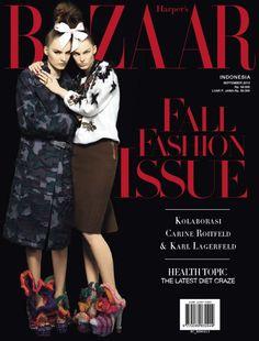 Tilda Lindstam and Lisa Verberght - Harper's Bazaar Magazine Cover [Indonesia] (September 2013)