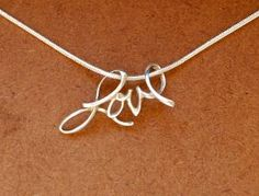 Sterling silver love pendant on 18 inch by jersey608 on Etsy