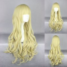 Soft Gold Long Deep Wave Pretty Lolita Cosplay Wigs