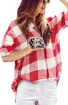 xiaokong Women Casual Plus Size VNeck Plaid Print Pullover Shirts Red 3XL *** Learn more by visiting the image link.Note:It is affiliate link to Amazon.