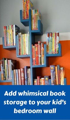 Add Whimsical Book Storage To Your Kid's Bedroom Wall http://www.hometalk.com/l/WDz