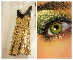 Glittery dress and eye shadow to match #fashion #makeup