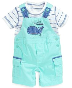 First Impressions Baby Boys' 2-Piece Striped Tee & Whale Cargo Shortall Set - Kids Baby Boy (0-24 months) - Macy's