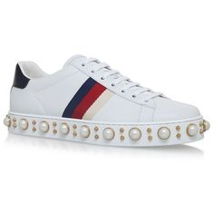 Gucci Ace Pearl Low Top Sneakers (€810) ❤ liked on Polyvore featuring shoes, sneakers, embellished shoes, lace up sneakers, laced shoes, gucci sneakers and studded sneakers